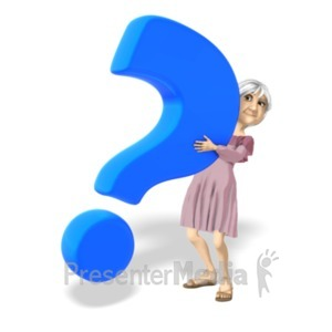 ID# 20689 - Martha Holding Question Mark - Presentation Clipart