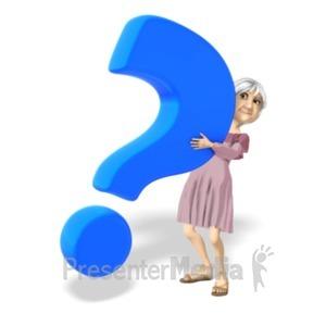 ID# 20689 - Martha Holding Question Mark - Presentation Clipart