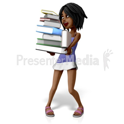 Jada Carrying Many Books PowerPoint Clip Art