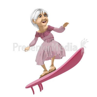 Martha Surfing PowerPoint Clip Art