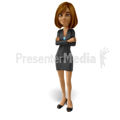 Talia Standing Arms Folded PowerPoint Clip Art