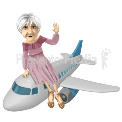 Martha Riding Airplane PowerPoint Clip Art