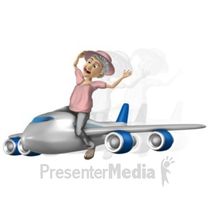 ID# 20749 - Bernice Travel On Airplane - Presentation Clipart