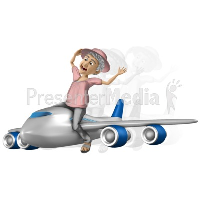 Bernice Travel On Airplane PowerPoint Clip Art