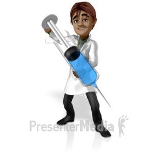 ID# 20753 - Doctor Simon Giant Syringe - Presentation Clipart