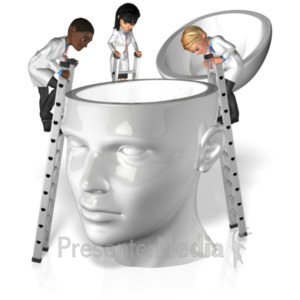 ID# 20756 - Doctors Explore Inside Head - Presentation Clipart