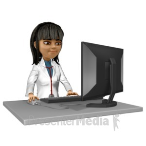 ID# 20767 - Doctor Kim At Desk Working - Presentation Clipart