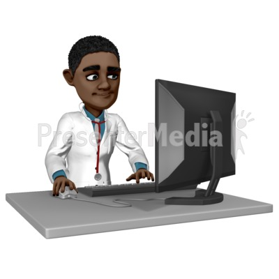 Doctor Ethan At Desk Working PowerPoint Clip Art