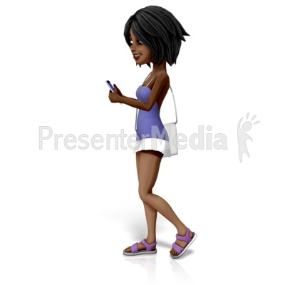 Jada Walking Texting PowerPoint Clip Art