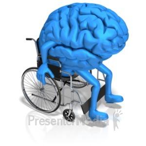 ID# 20791 - Brain Character In Wheelchair - Presentation Clipart