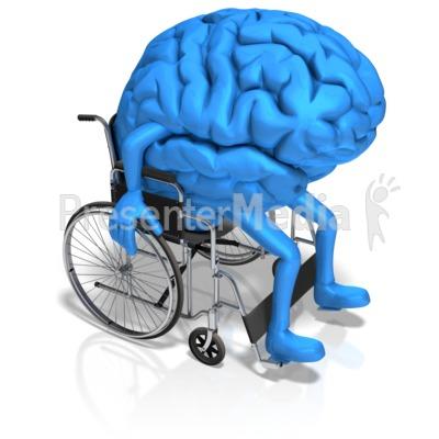 Brain Character In Wheelchair PowerPoint Clip Art