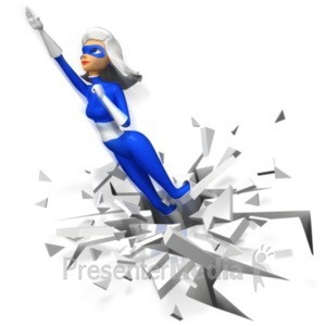 ID# 20802 - Supergal Flying Upward Boom - Presentation Clipart