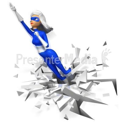 Supergal Flying Upward Boom PowerPoint Clip Art
