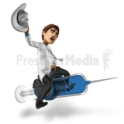 Doctor Simon Riding Syringe PowerPoint Clip Art