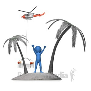 ID# 20829 - Figure Rescued From Island - Presentation Clipart