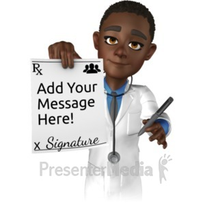 ID# 20831 - Doctor Ethan Holding Rx Paper - Presentation Clipart