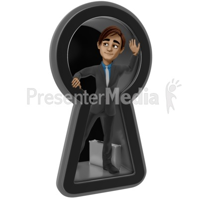 Brad Looking Out Keyhole PowerPoint Clip Art