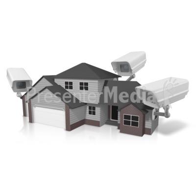 Security House Surveillance PowerPoint Clip Art