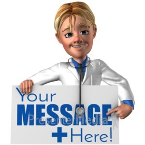 ID# 20865 - Doctor Simon Holding Pointing At Sign - Presentation Clipart