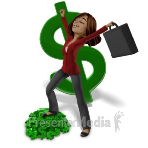 ID# 20872 - Talia On Money Pile - Presentation Clipart