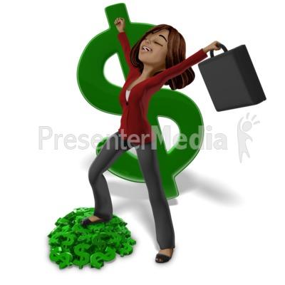 Talia On Money Pile PowerPoint Clip Art