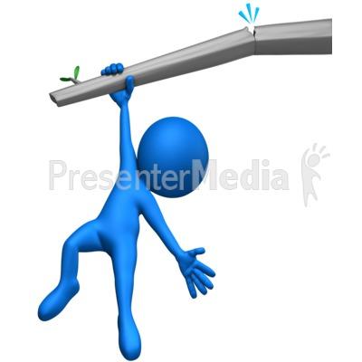 Figure Hanging On Broken Branch PowerPoint Clip Art