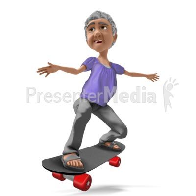Bernice Skateboarding PowerPoint Clip Art