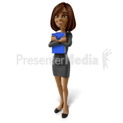 Talia Standing Holding Book PowerPoint Clip Art