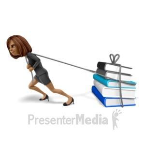 ID# 20936 - Talia Pulling A Load Books - Presentation Clipart
