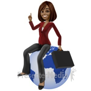 ID# 20948 - Talia Sitting On World - Presentation Clipart