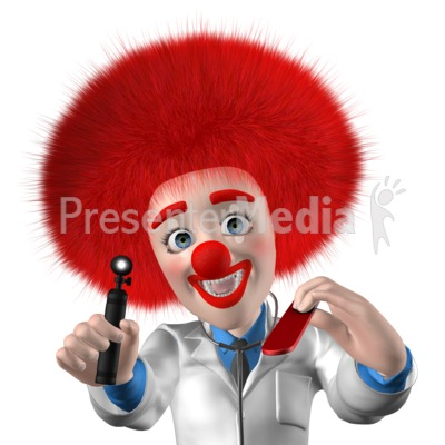 Clown Doctor Saying Open Up Say Ahh PowerPoint Clip Art