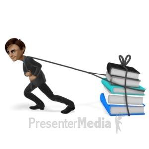ID# 20958 - Brad Pulling A Load Books - Presentation Clipart