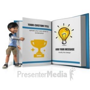 ID# 20959 - Boy Turning A Custom Page - Presentation Clipart