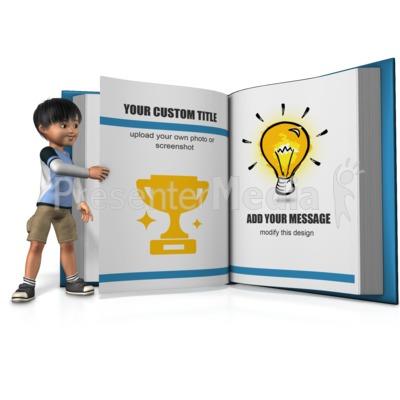 Boy Turning A Custom Page Presentation clipart
