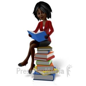 ID# 20962 - Talia Sitting On Pile Of Books - Presentation Clipart