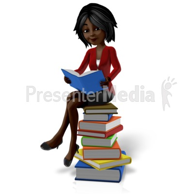 Talia Sitting On Pile Of Books PowerPoint Clip Art