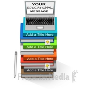 ID# 20966 - Custom Laptop Book Stack - Presentation Clipart