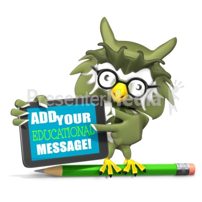 Owl Holding Custom Tablet Presentation clipart