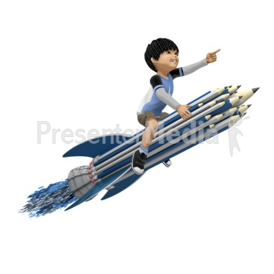 Boy On Pencil Rocket PowerPoint Clip Art