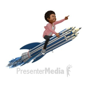 ID# 20973 - Girl On Pencil Rocket - Presentation Clipart