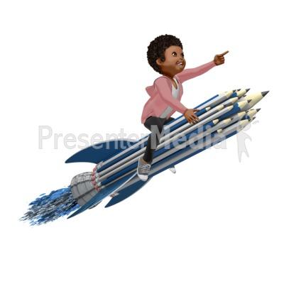Girl On Pencil Rocket PowerPoint Clip Art