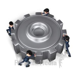 ID# 20983 - Businessmen Push Gear - Presentation Clipart
