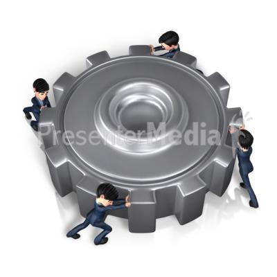 Businessmen Push Gear PowerPoint Clip Art