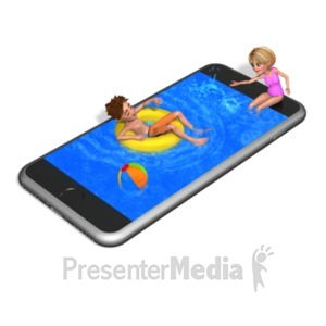 ID# 20988 - Smart Phone Swimming Pool - Presentation Clipart
