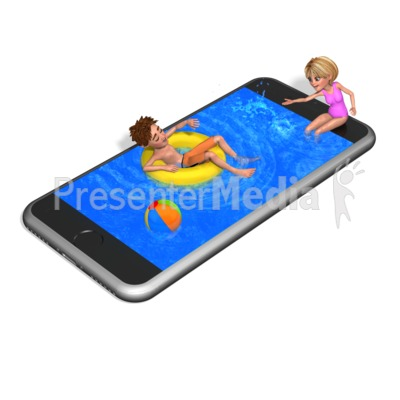 Smart Phone Swimming Pool PowerPoint Clip Art