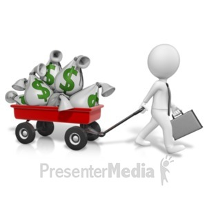 ID# 20990 - Wagon Full Of Money - Presentation Clipart