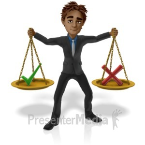 ID# 20993 - Man Hold Scales Decision - Presentation Clipart