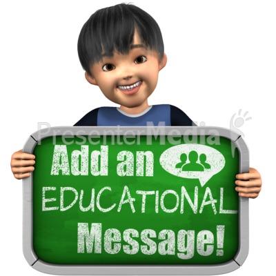 Boy Holding Custom Chalkboard Sign Presentation clipart