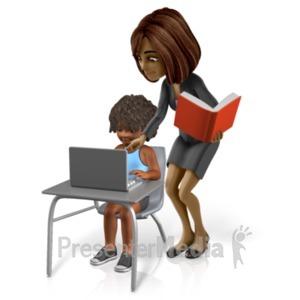 ID# 21022 - Talia Helping Student - Presentation Clipart