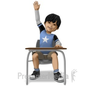 ID# 21024 - Boy Raising Hand At Desk - Presentation Clipart